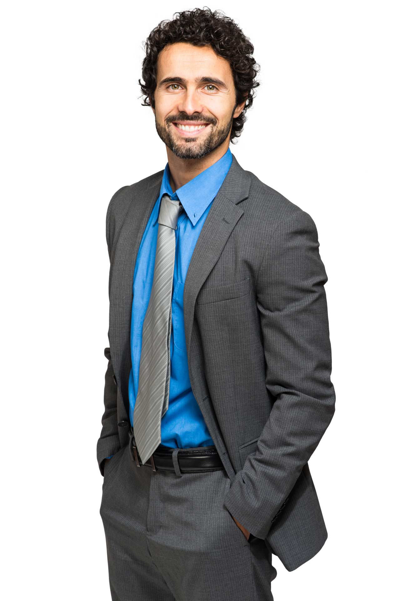Business man in a suit smiling in front of a white background
