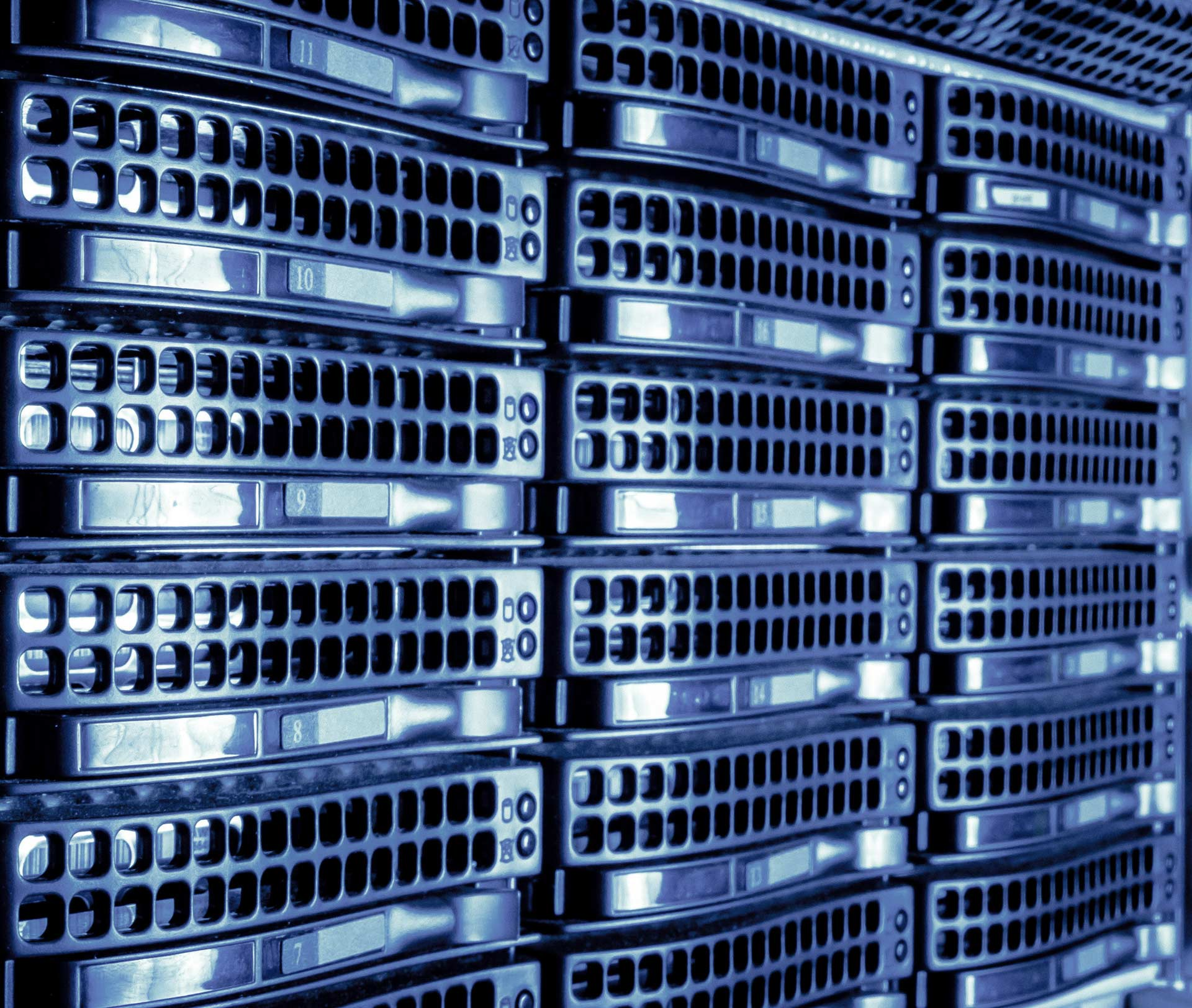 Blue datacentre in a linear shot server cloud backup page
